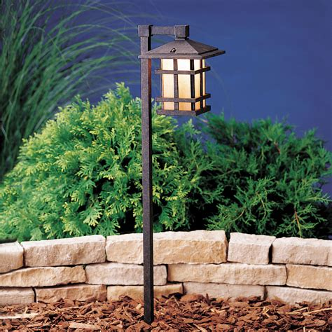 aged bronze line voltage one light landscape path light