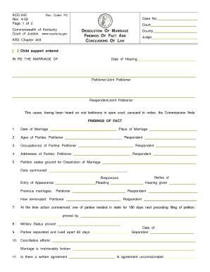 kentucky dissolution marriage fill printable