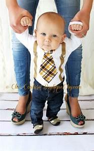 Plaid Bébé Garçon : baby boy tie suspenders bodysuit 1st birthday outfit brown mustard citrine plaid newborn ~ Teatrodelosmanantiales.com Idées de Décoration