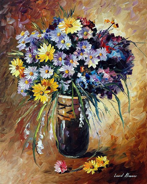 SUMMER FLOWERS PALETTE KNIFE Oil Painting On Canvas By