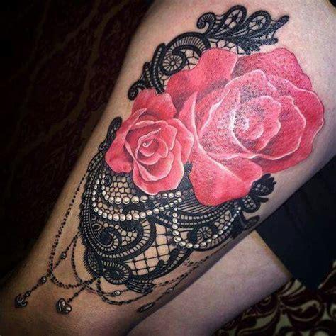 lace roses  pearls tattoo tattoo female tatto