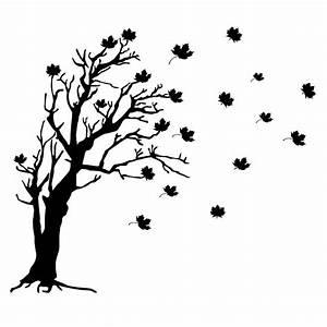 Baum im Wind Blätter Wandtattoo