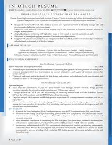 resume for experienced mainframe developer it resume sles infotechresume