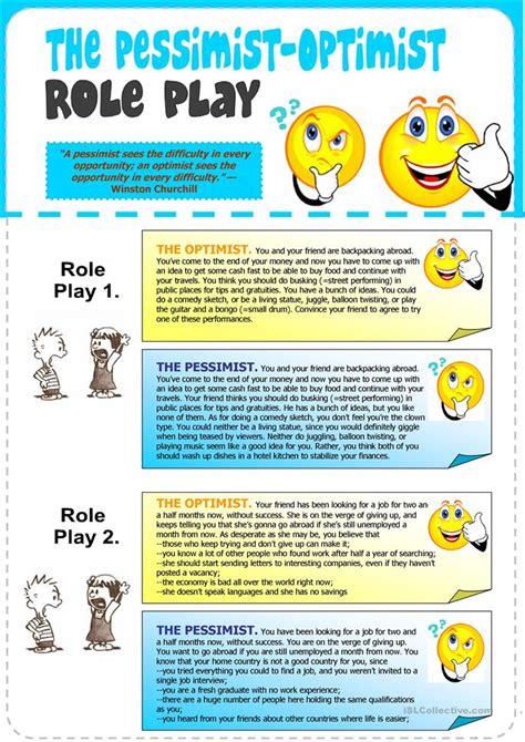 The Pessimistoptimist Role Play Worksheet  Free Esl Printable Worksheets Made By Teachers