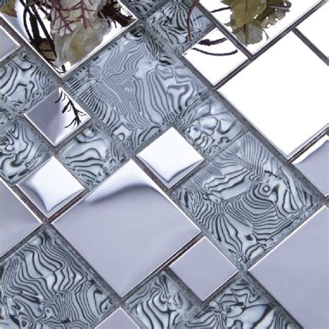 light gray glass mixed silver stainless steel metal mosaic