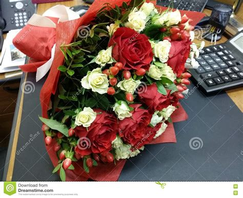 Bouquette Of Flowers On The Desk Stock Image Image 64002883