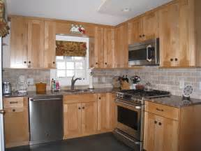 shaker style maple cabinets subway tile backsplash