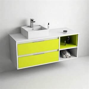 Meuble Salle De Bain Suspendu : meuble de salle de bain 120 cm suspendu blanc brillant ~ Melissatoandfro.com Idées de Décoration