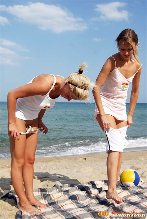 Two Cute Blonde Teenagers Love Playing Nude On The Beach