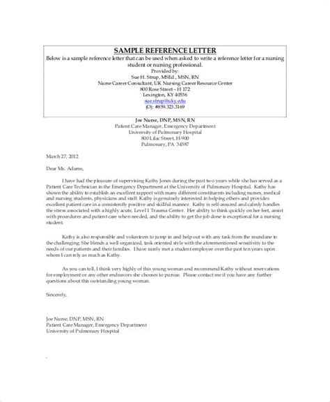 sample nursing recommendation letter examples  word