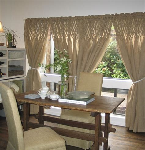 Smocked Burlap Curtain Panels by Lovely Burlap Smocked Curtains Nest
