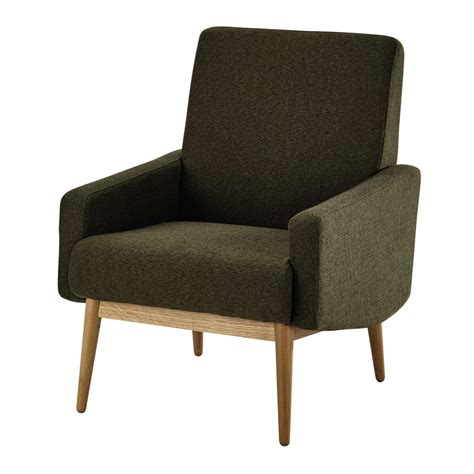 fauteuil vintage en tissu kaki kelton maisons du monde