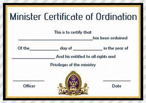 Minister Resume Sample Ordination Certificate Template 14 Unique And Free