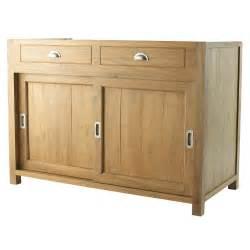 meuble bas de cuisine en teck massif l 120 cm amsterdam With meuble cuisine 120 cm