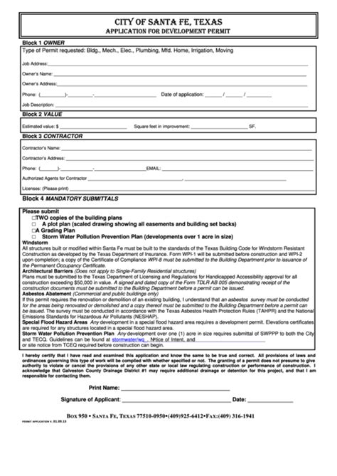 city  santa fe application  development permit