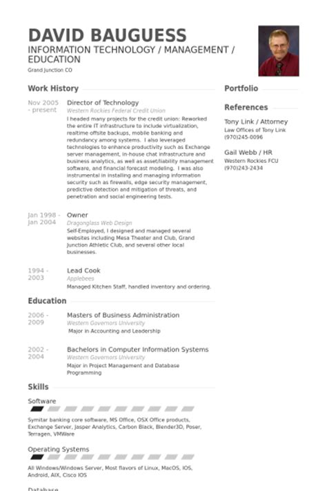 Computer Operating Systems Resume by Director Of Technology Resume Sles Visualcv Resume Sles Database