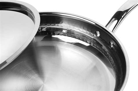 lagostina copper cookware set martellata hammered tri ply  piece cutlery