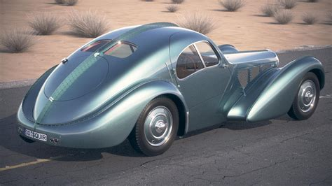 Twin cam, supercharged straight 8. Bugatti Type 57SC Atlantic 1938 DesertStudio