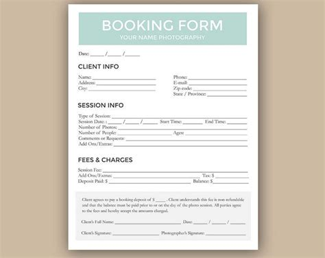 client booking form  photographer photography contract