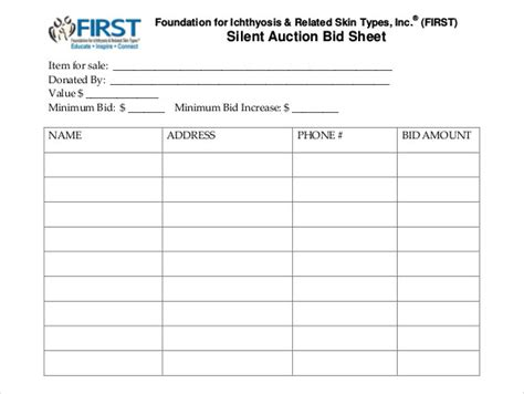 silent auction bid sheet template  word printable