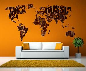 world map sticker home wall decor cutzz With awesome wall decal directions