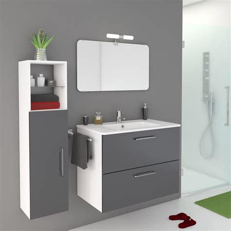 meuble sous vasque     p cm gris happy