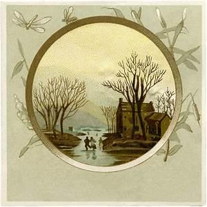 Pretty Vintage Winter Landscape Image! - The Graphics Fairy