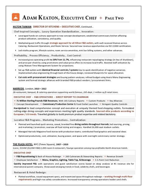 sle resume executive chef position
