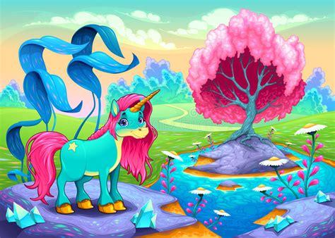 happy unicorn   landscape  dreams stock vector