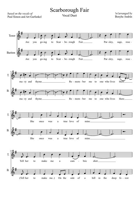 Scarborough Fair  Acappella Duet  Sheet Music For Voice