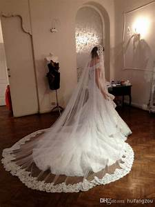 1 layers ivory bridal wedding veils hem lace appliques With long veil wedding dresses