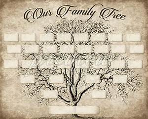 Vintage 5 Generation Family Tree Print Template Instant