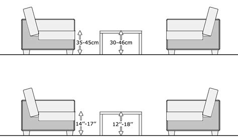 Living Room Table Measurements by Coffee Table Proper Size