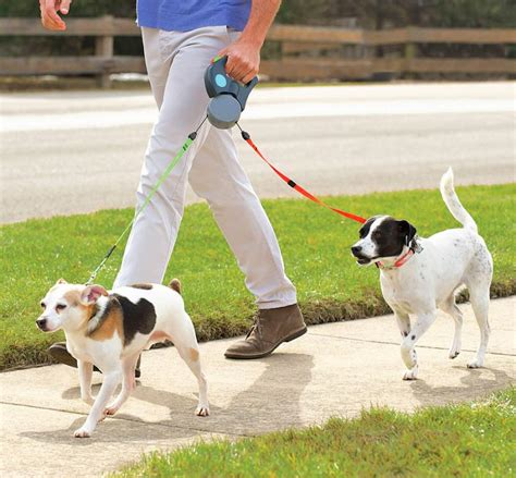 dual doggie pet leash double retractable dog leash