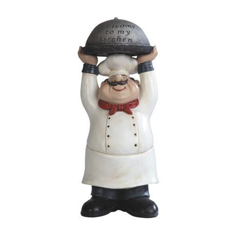 fat chef statues  bit  bistro themed kitchen decor whimsy