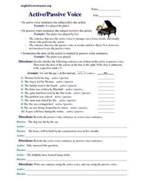 active passive voice 5th 8th grade worksheet lesson planet
