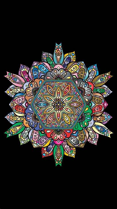 Mandala Colorful Patterns Galaxy Background Floral Iphone