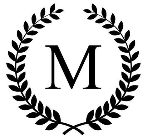 monogram initial  laurel leaf frame vinyl decal  azulturquesa  love  monogram