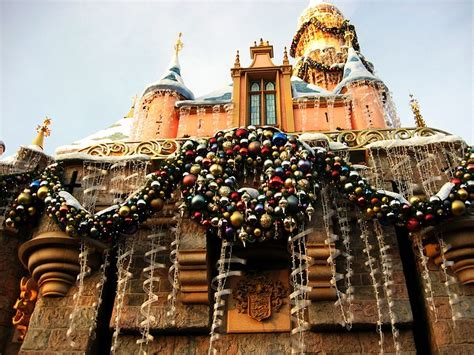 sleeping beauty castle decorated   holidays picture
