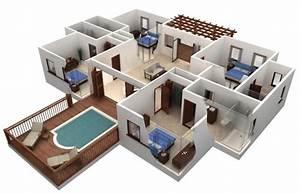Simple 4 Bedroom House Plans 3d - House Floor Plans