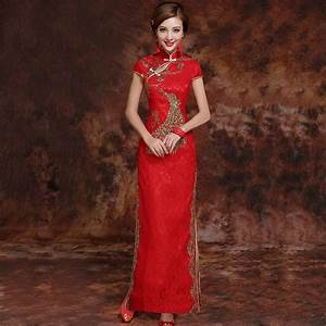 red brocade gold phoenix embroidery traditional cheongsam With chinese wedding dress hong kong