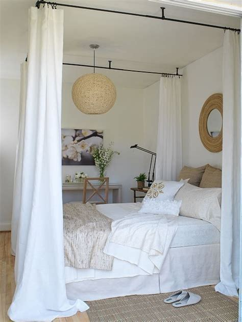 diy four poster bed attach curtain rods to ceiling