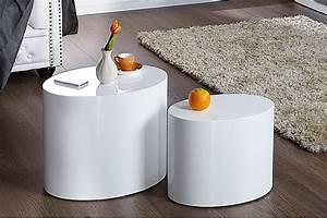 Couchtisch Weiß Klein : design beistelltisch 2er set division hochglanz wei oval ~ Watch28wear.com Haus und Dekorationen