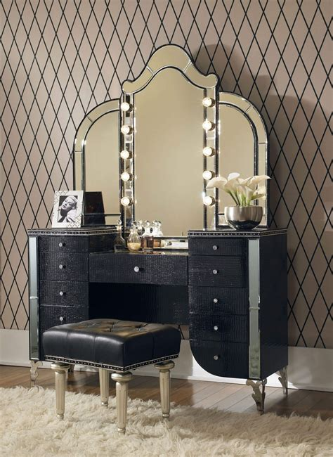 furniture vanity aico swank starry black iguana upholstered