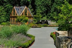 garden designs greenhouse pavilion koi pond and driveway surrounds landscape architecture