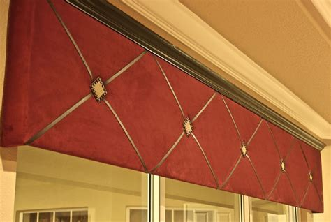 Suede cornice with black crown moding, leather criss cross