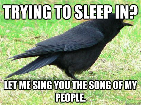 Trying To Sleep Meme - trying to sleep in let me sing you the song of my people scumbag crow quickmeme