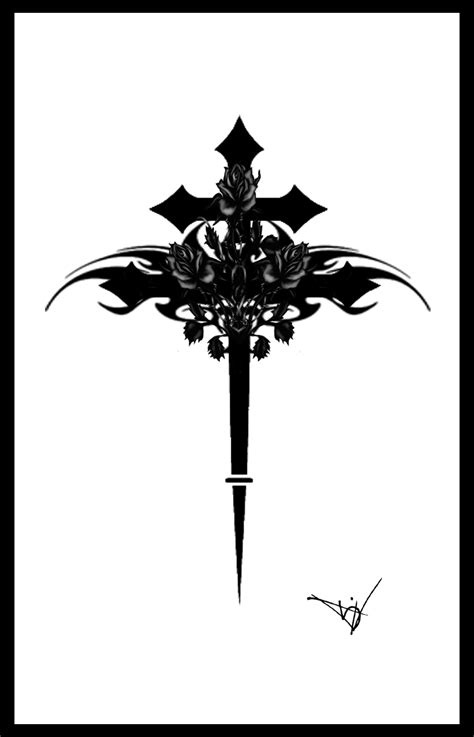 Gothic Cross With Roses By Quicksilverfury On Deviantart