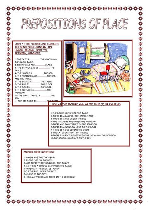 preposition  place worksheet  esl printable