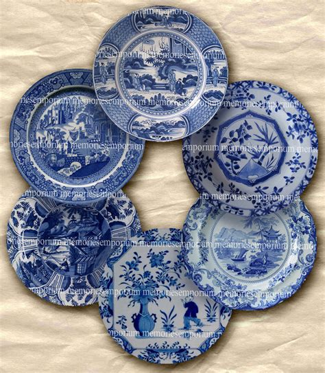 Shabby Chic Blue And White China Plates For Doll House Two 2